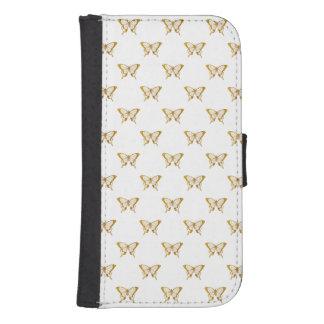 Metallic Gold Foil Butterflies on White Samsung S4 Wallet Case