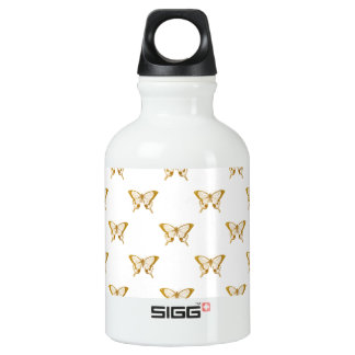 Metallic Gold Foil Butterflies on White Water Bottle