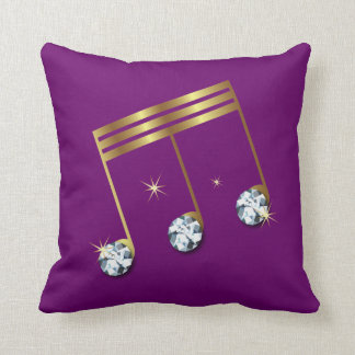 Metallic Gold Music Note Pillow with Diamonds
