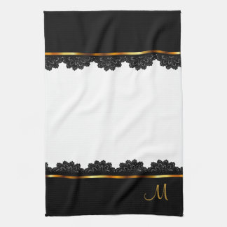 Metallic Gold & Pretty Black Lace Kitchen Towel