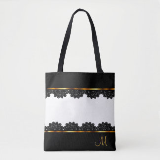 Metallic Gold & Pretty Black Lace Tote Bag