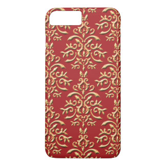 Metallic Gold Red Damask Pattern iPhone 8 Plus/7 Plus Case