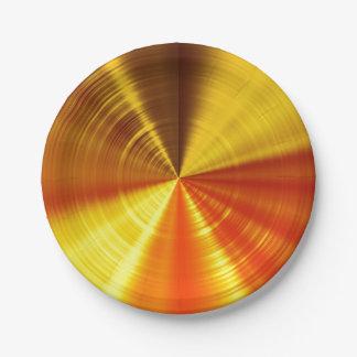 Metallic Gold Spiral 7 Inch Paper Plate