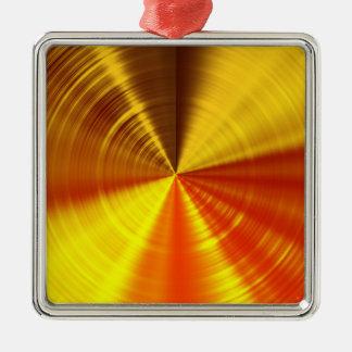 Metallic Gold Spiral Silver-Colored Square Ornament