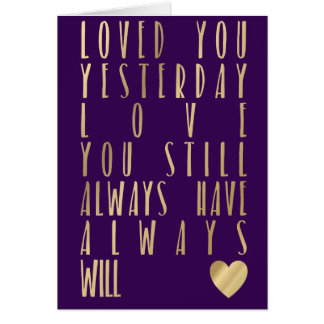 Metallic Gold Valentines Day Card romantic quote