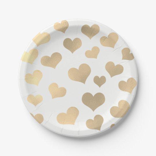Metallic Golden Hearts Confetti White Delicate Paper Plate