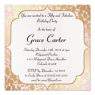 Metallic Golden Rose Pink Birthday Invite