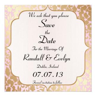 Metallic Golden Rose Pink Save The Date Notice Custom Invitation
