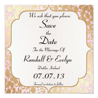 """Metallic Golden Rose Pink Save The Date Notice 5.25"""" Square Invitation Card"""