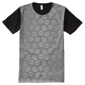Metallic Graphite Gray Silver Kiss Makeup Lips All-Over-Print T-Shirt