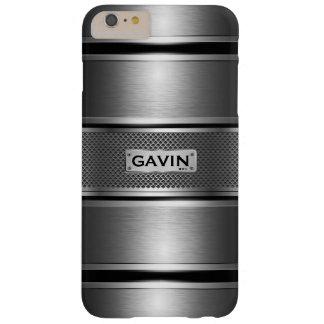 Metallic gray & black geometric stripes pattern 4 barely there iPhone 6 plus case