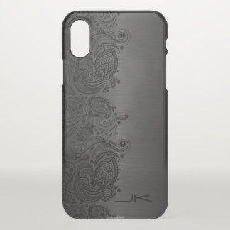 Metallic Gray Brushed Aluminum & Black Floral Lace iPhone X Case