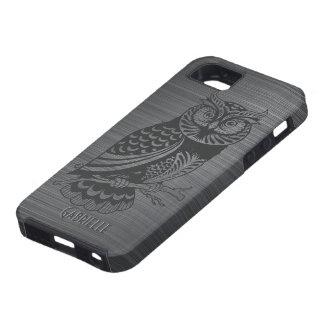 Metallic Gray Brushed Aluminum & Black Owl iPhone 5 Covers