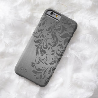 Metallic Gray Brushed Aluminum & Gray Floral Lace Barely There iPhone 6 Case