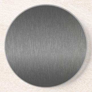 Metallic Gray Brushed Aluminum Look Beverage Coaster