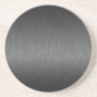 Metallic Gray Brushed Aluminum Look Coaster