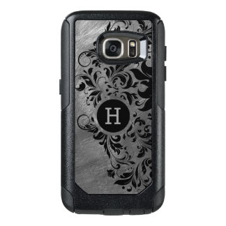 Metallic Gray Brushed Steel Print & Black Lace OtterBox Samsung Galaxy S7 Case