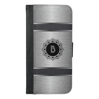 Metallic Gray, Decorative Stripes & Ornate Circle iPhone 6/6s Plus Wallet Case