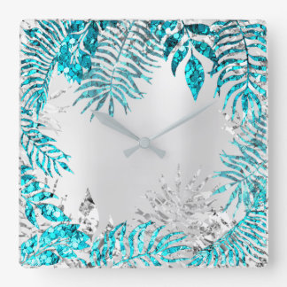 Metallic Gray Palm Botanic Floral Blue Ocean Square Wall Clock
