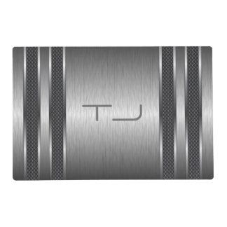 Metallic Gray Print Brushed Aluminum Look Laminated Placemat
