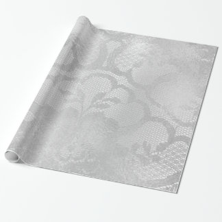 Metallic Gray Silver Monochrome Bridal Floral Lace Wrapping Paper