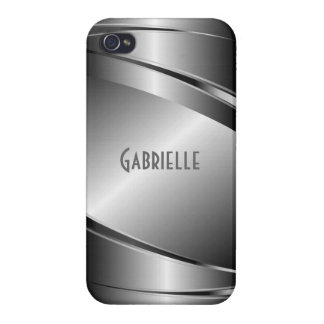 Metallic Gray Stainless Steel Look Case For The iPhone 4