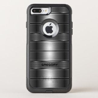 Metallic Gray Stripes Geometric Pattern OtterBox Commuter iPhone 8 Plus/7 Plus Case