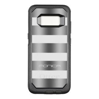 Metallic Gray & White Stripes Pattern OtterBox Commuter Samsung Galaxy S8 Case