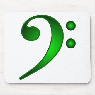 Metallic Green Bass Clef Mouse Pad