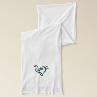Metallic Green Treble Bass Clef Heart Music Scarf