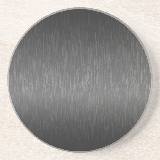 Metallic Grey Brushed Aluminum Look Coaster