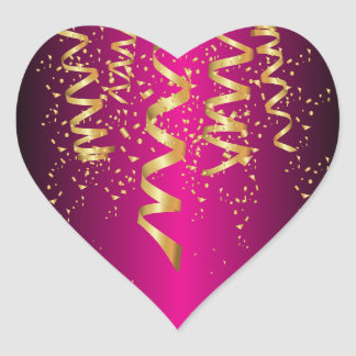 Metallic Hot Pink Gold Confetti Heart Sticker