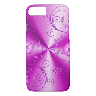 Metallic Hot Pink Look With Floral Accents iPhone 7 Case