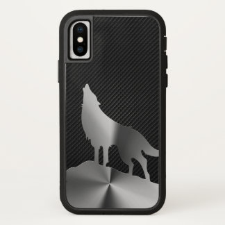 Metallic howling wolf with carbon fiber iPhone x case