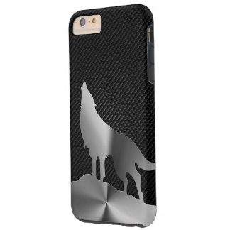 Metallic howling wolf with carbon fiber tough iPhone 6 plus case