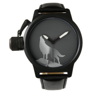 Metallic howling wolf with carbon fiber watch