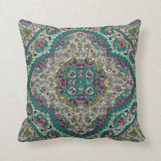 Metallic Jewel Designs Throw Pillow