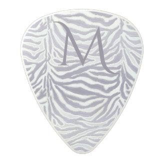 Metallic Lavender Zebra  Animal Print Monogram Polycarbonate Guitar Pick