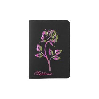 Metallic Look Rose Personalized Passport Holder