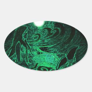 Metallic Mermaid of the Sea Oval Sticker