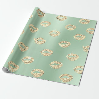 Metallic Mint Green Tiffany Foxier Gold Glitter Wrapping Paper