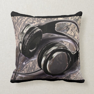 Metallic Music Headphones Throw Pillow