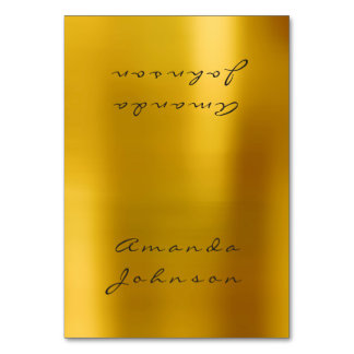Metallic Mustard Gold Personalized Name Table Card