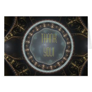 Metallic Ornate Steampunk Fractal Thank You Card