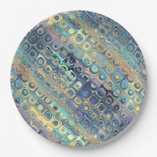 Metallic Pastel Lights Blue Pattern Paper Plate