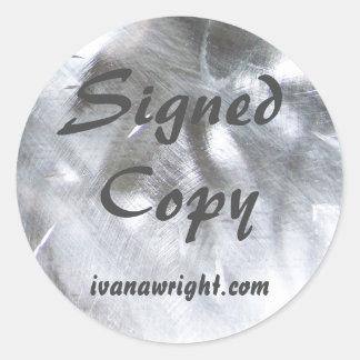 Metallic Photo and Gray Signed Copy Classic Round Sticker