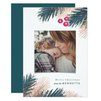 Metallic Pine Boughs and Berries Christmas Card
