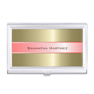 Metallic Pink And Gold Design Stainless Steel Look Business Card Holder