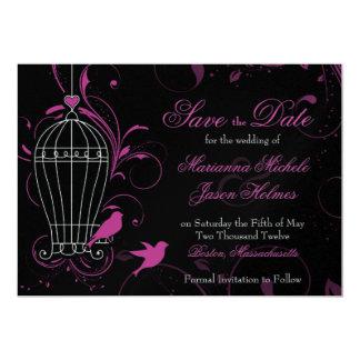 "Metallic Pink & Black Swirl Birdcage Save the Date 5"" X 7"" Invitation Card"