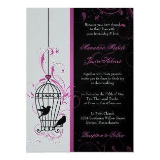 "Metallic Pink & Black Swirly Bird Cage Wedding 6.5"" X 8.75"" Invitation Card"